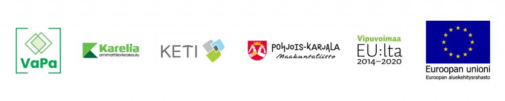Hankkeen, hankkeen toteuttajien ja rahoittajien logot: VaPa-hanke, Karelia-ammattikorkeakoulu, KETI, Pohjois-Karjalan maakuntaliitto, Vipuvoimaa EU:lta 2014-2020, Euroopan Unionin aluekehitysrahasto